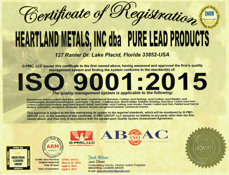 Iso Certification Pure Lead Products